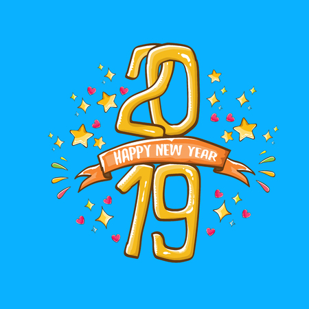 2019 Happy New Year poster design template. Vector happy new year greeting illustration with colored hand drawn 2019 numbers and stars isolated on blue background Vettoriali