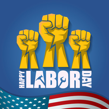 labor day Usa vector label or background. vector happy labor day poster or banner with clenched fist isolated on usa flag background . Labor union icon