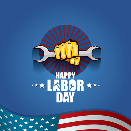 labor day Usa vector label or background. vector happy labor day poster or banner with clenched fist isolated on usa flag background . Labor union icon Vektorgrafik