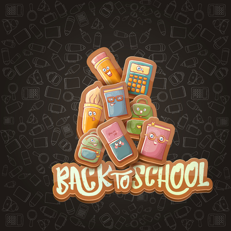 Back to school vector background template with funny cartoon supplies like pencil ,book, bag, eraser and space for text. Vector back to school cartoon label isolated on black chalkboard Ilustração Vetorial