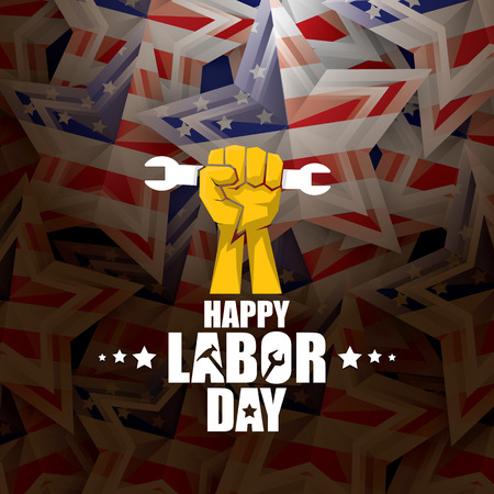 Día del trabajo Etiqueta de vector de Estados Unidos o fondo. Vector cartel o pancarta feliz del día del trabajo con puño cerrado aislado en el fondo de la bandera de Estados Unidos. Icono de sindicato laboral