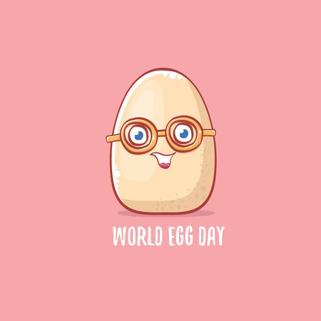 world egg day concept illustration with cute white egg cartoon kawaii character isolated on pink background.