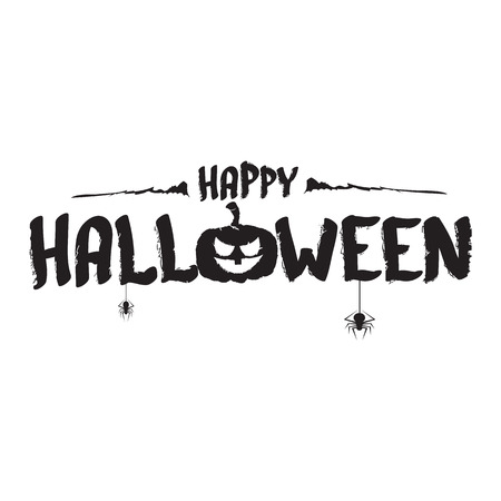 Happy Halloween text Banner. Vector halloween calligraphic text label with scary pumpkin isolated on white Çizim