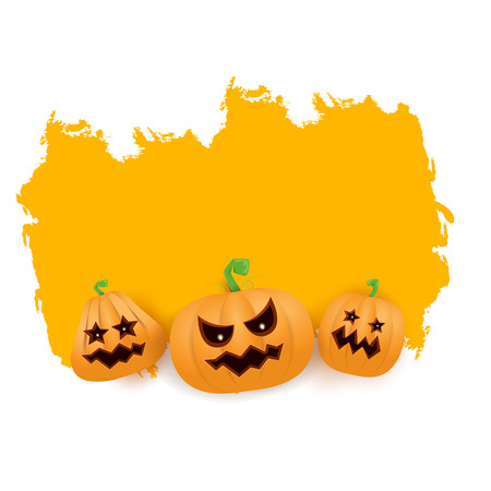 Halloween grunge Banner or poster with Halloween scary pumpkins isolated on white background . Funky kids Halloween banner with space for greeting text or sale Illustration