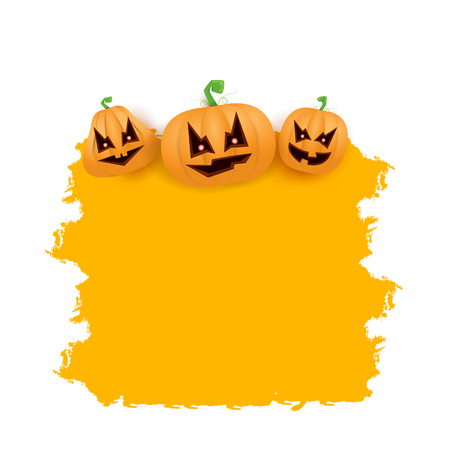 Halloween web grunge Banner or poster with Halloween scary pumpkins isolated on white background . Funky kids Halloween banner with space for greeting text or sale