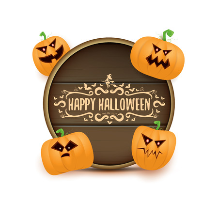 Happy Halloween web wooden board label with Halloween scary pumpkins isolated on white background . Funky kids Halloween banner with greeting text