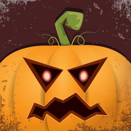 Halloween pumpkin with face on dark background. Vector cartoon Illustration of Carved pumpkin into jack-o-lanterns for halloween banners and posters