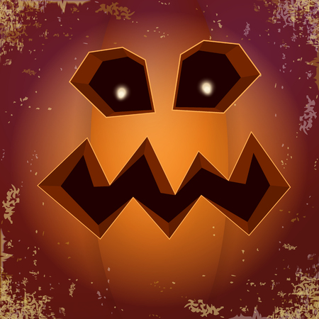 Halloween cartoon pumpkin with face . Vector cartoon Illustration of Carved pumpkin into jack-o-lanterns for halloween banners and posters and layout. Ilustração