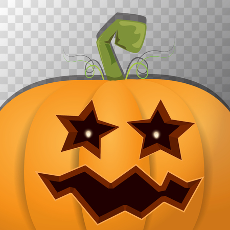Halloween pumpkin with face on transparent background. Vector cartoon Illustration of Carved pumpkin into jack-o-lanterns for halloween banners and posters