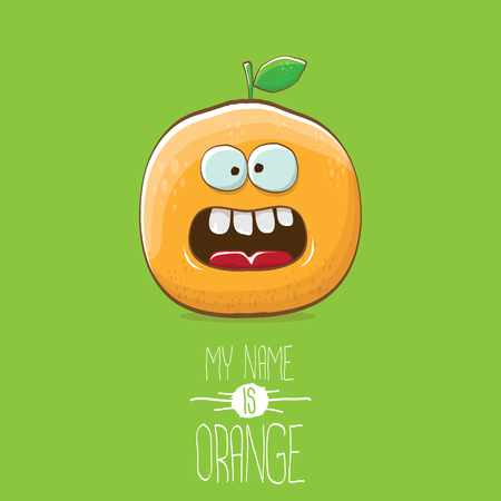 vector funny cartoon cute orange character isolated on green background. My name is orange vector concept. super funky citrus fruit summer food character Stock Vector - 109371487