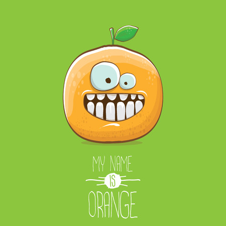 vector funny cartoon cute orange character isolated on green background. My name is orange vector concept. super funky citrus fruit summer food character Stock Vector - 109371491
