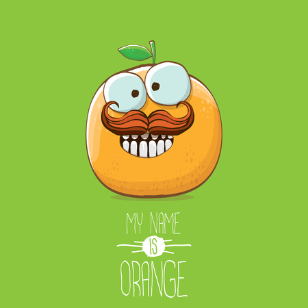 vector funny cartoon cute orange character isolated on green background. My name is orange vector concept. super funky citrus fruit summer food character 矢量图像
