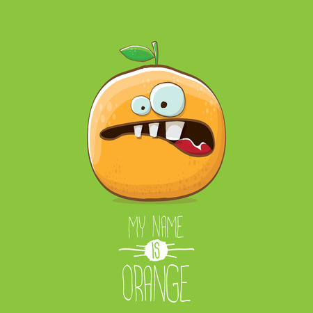 vector funny cartoon cute orange character isolated on green background. My name is orange vector concept. super funky citrus fruit summer food character Stock Vector - 109371496