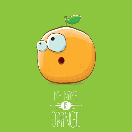 vector funny cartoon cute orange character isolated on green background. My name is orange vector concept. super funky citrus fruit summer food character Stock Photo - 109371499