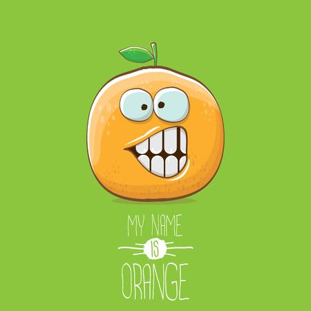 vector funny cartoon cute orange character isolated on green background. My name is orange vector concept. super funky citrus fruit summer food character Stock Photo