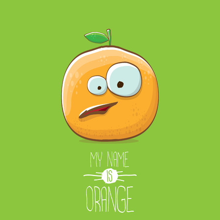 vector funny cartoon cute orange character isolated on green background. My name is orange vector concept. super funky citrus fruit summer food character Stock Vector - 109371503