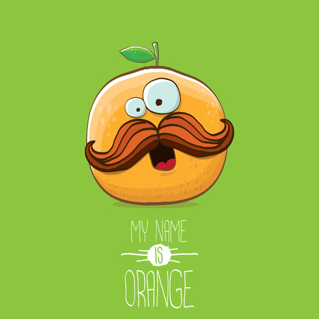 vector funny cartoon cute orange character isolated on green background. My name is orange vector concept. super funky citrus fruit summer food character  イラスト・ベクター素材
