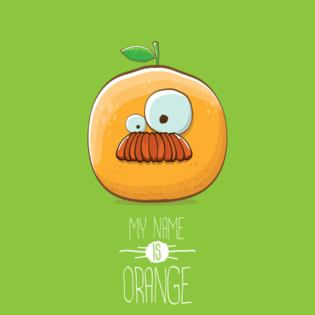 vector funny cartoon cute orange character isolated on green background. My name is orange vector concept. super funky citrus fruit summer food character Stock Vector - 109371505