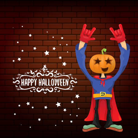 vector Happy halloween hipster party background. man in halloween costume with carved pumpkin head on brick wall background. Happy halloween rock concert poster design Vetores