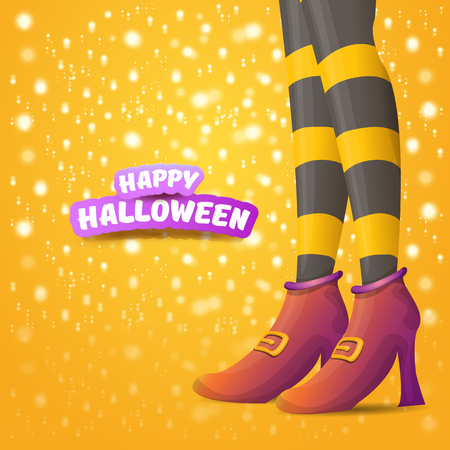 vector cartoon halloween party poster with women witch legs and vintage ribbon with text happy halloween on orange background with stars and lights . girls legs with stripped stockings and shoes.