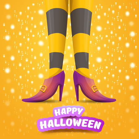 vector cartoon halloween party poster with women witch legs and vintage ribbon with text happy halloween on orange background with stars and lights . girls legs with stripped stockings and shoes. Ilustracja