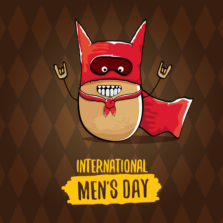International mens day vector cartoon greeting card with funny cartoon cute brown super hero potato with red hero cape and mask on brown pattern background. Mens day text label Banque d'images - 111291820