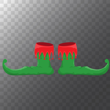 vector green cartoon christmas elf shoes collection icon isolated on transparent background. vector funky green cartoon boots set