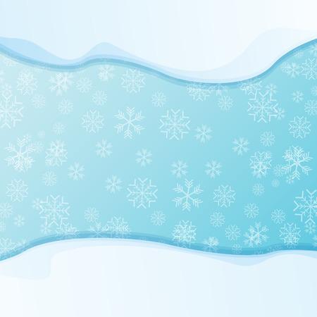 vettore tappi di neve invernale isolati su sfondo blu cielo con fiocchi di neve. bordo di neve o cornice per saldi invernali o banner natalizio