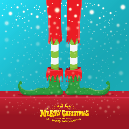 vector creative merry christmas greeting card with elfs legs, elf shoes and christmas stripped stocking on falling snow in sky. Vector merry christmas background
