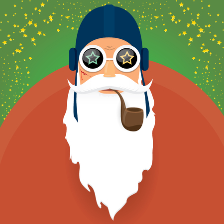 vector DJ rock n roll santa claus with smoking pipe, santa beard and funky santa hat isolated on green christmas square background with stars. Christmas hipster party poster, banner or card. Stock Illustratie