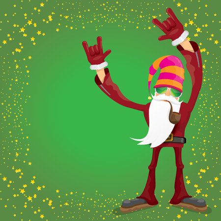 vector DJ rock n roll santa claus with smoking pipe, santa beard and funky santa hat isolated on green christmas square background with stars. Christmas hipster party poster, banner or card. Illustration