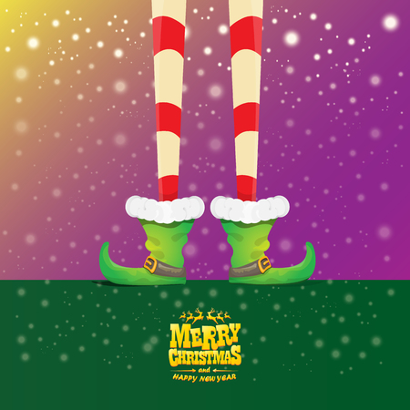 vector creative merry christmas greeting card with cartoon elfs legs, elf shoes and christmas stripped stocking on falling snow in sky. Vector merry christmas background Stockfoto