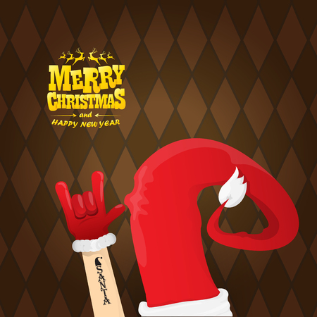 vector cartoon rock n roll Santa Claus character with calligraphic greeting text on brown plaid background. Merry Christmas Rock n roll party poster design or greeting card. Ilustración de vector