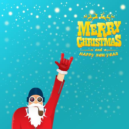 vector rock n roll kerstman met rookpijp, kerstbaard en funky kerstmuts. Kerst hipster poster voor feest of wenskaart. vector slechte santa xmas poster achtergrond