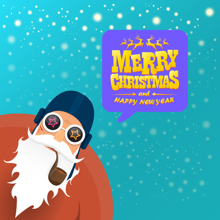 vector rock n roll santa claus with smoking pipe, santa beard and funky santa hat. Christmas hipster poster for party or greeting card. vector bad santa xmas poster background Stock Illustratie