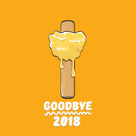 vector goodbye 2018 year funny concept illustration with melt ice cream isolated on orange. End of the year background or poster