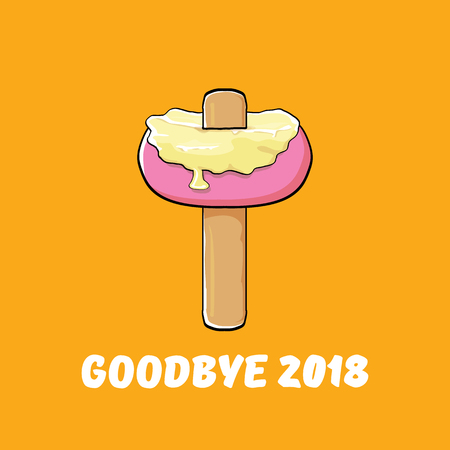 vector goodbye 2018 year concept illustration with melt ice cream isolated on orange. End of the year background or poster Stock Photo