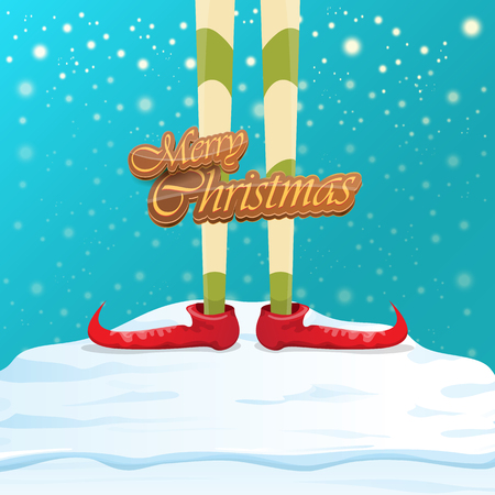 vector creative merry christmas greeting card with cartoon elfs legs, elf shoes and christmas stripped stocking on falling snow in sky. Vector merry christmas kids cartoon background