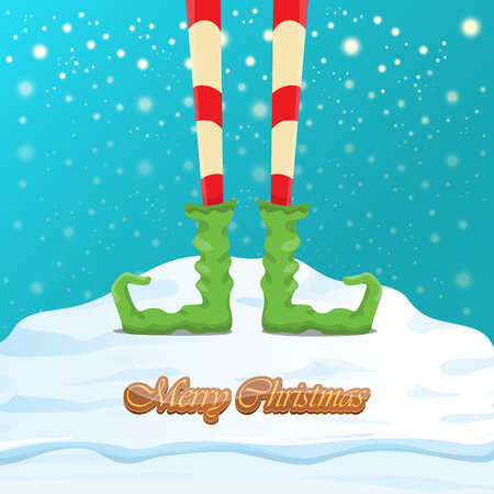 vector funny merry christmas greeting card with cartoon elfs legs, elf shoes and christmas stripped stocking on falling snow in sky. Vector merry christmas kids cartoon background