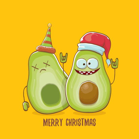 Merry chirstmas vector greeting card with with santa claus avocado character and his elf friend on orange background. Vector funny christmas party poster design template Archivio Fotografico - 127057668