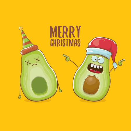 Merry chirstmas vector greeting card with with santa claus avocado character and his elf friend on orange background. Vector funny christmas party poster design template Archivio Fotografico - 127057672