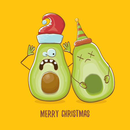 Merry chirstmas vector funky greeting card with with santa claus avocado character and his elf friend on orange background. Vector funny christmas party poster design template Archivio Fotografico - 113392225