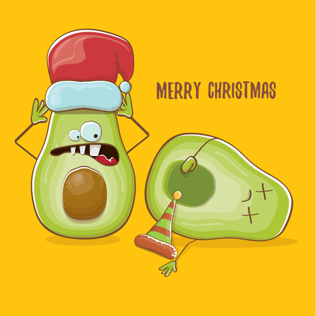 Merry chirstmas vector funky greeting card with with santa claus avocado character and his elf friend on orange background. Vector funny christmas party poster design template Archivio Fotografico - 113392226