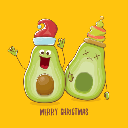 Merry chirstmas vector funky greeting card with with santa claus avocado character and his elf friend on orange background. Vector funny christmas party poster design template Archivio Fotografico - 113392228