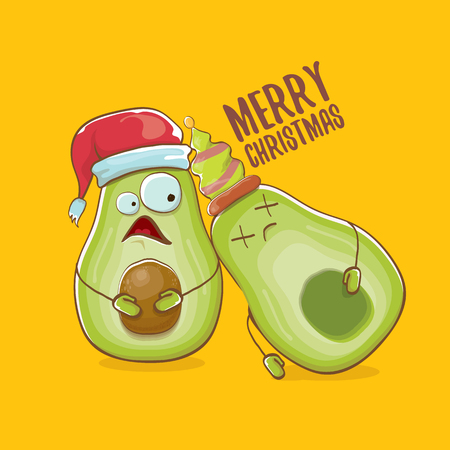 Merry chirstmas vector funky greeting card with with santa claus avocado character and his elf friend on orange background. Vector funny christmas party poster design template Archivio Fotografico - 113392229