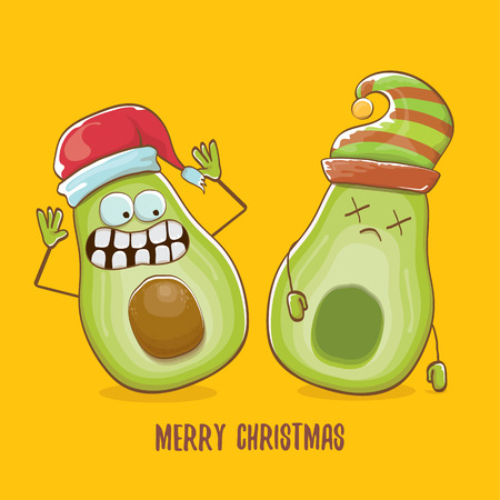 Merry chirstmas vector funky greeting card with with santa claus avocado character and his elf friend on orange background. Vector funny christmas party poster design template Archivio Fotografico - 113392230