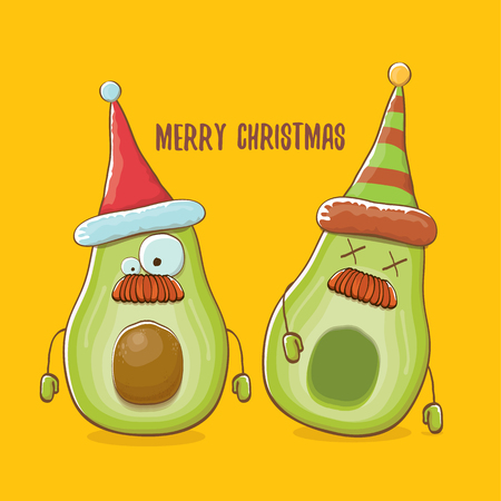 Merry chirstmas vector funky greeting card with with santa claus avocado character and his elf friend on orange background. Vector funny christmas party poster design template Archivio Fotografico - 113392238