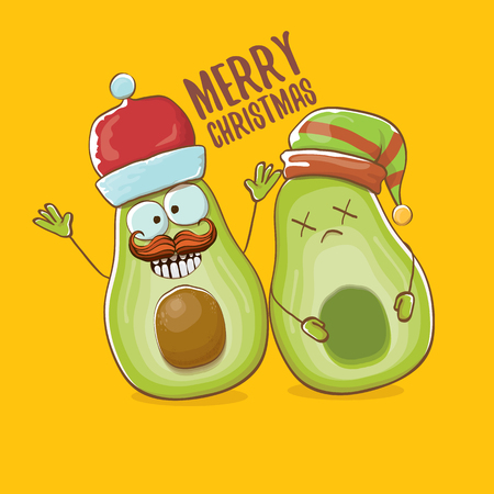 Merry chirstmas vector greeting card with with santa claus avocado character and his elf friend on orange background. Vector funny christmas party poster design template Archivio Fotografico - 127057674
