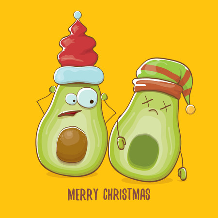 Merry chirstmas vector greeting card with with santa claus avocado character and his elf friend on orange background. Vector funny christmas party poster design template Archivio Fotografico - 127057675