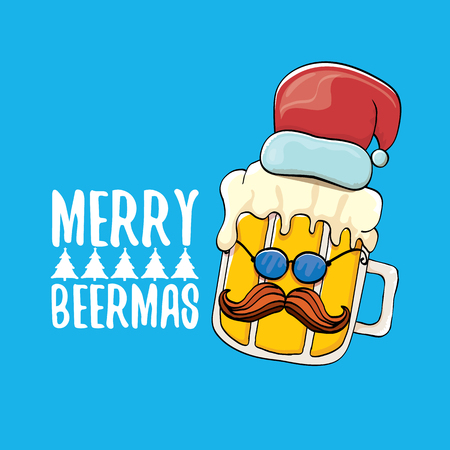 Merry beermas vector comic christmas greeting card with beer glass cartoon character and red santa hat isolated on blue background. Vector adult christmas beer party poster design template